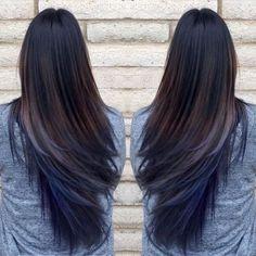 Image result for pic of blue streak in dark hair