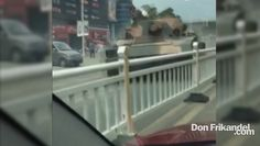 Driver has a close call with a tank