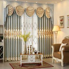 奢华欧式田园美式雪尼尔色织水溶绣花窗帘布窗纱粉黛 Swag Curtains, Luxury Curtains, Tulle Curtains, Cheap Curtains, Cool Curtains, Valance, Window Curtains, Latest Curtain Designs, Trendy Tree