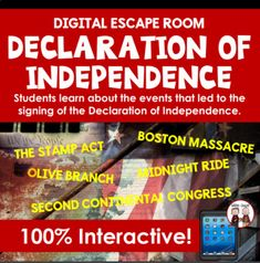 Events to Declaration of Independence Digital Escape Room Amnesia, Declaration Of Independence, Escape Room, Student Learning, Puzzles, Acting, Purpose, Students, Strong