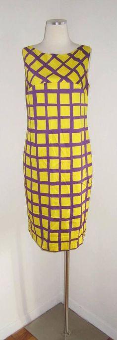 NWT MARIMEKKO YNNA YELLOW PURPLE GRID PATTERN DRESS 38/8 #Marimekko #Shift