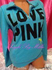 Storewide #sale & 99 Cent #VSPINK #auctions #ebay End Sunday! #Worldwide ShippingNEW Victorias Secret PINK L Neon Blue Black Half Zip SIGNATURE Crew Sweat shirt