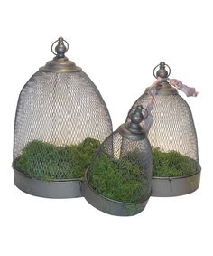 This charming set of cloches is an ideal addition to the décor whether hanging from a patio rafter or displayed as a table centerpiece.Includes three clochesSmall: 12.4'' H x 8'' diameterMedium: 15.9'' H x 11'' diameterLarge: 19.3'' H x 13.8'' diameter