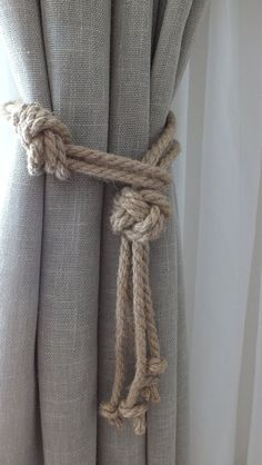 Nautical Knots Curtain Tie Backs Nursery Curtain Tie Jute Curtain Tie Backs Curtain Hooks Curtain Holdbacks Curtain TieBacks No Sew Curtains, Drop Cloth Curtains, Boho Curtains, Burlap Curtains, Floral Curtains, How To Make Curtains, Rod Pocket Curtains, Blackout Curtains, Nautical Curtains