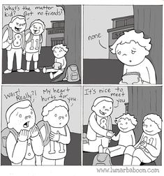lunarbaboon - Comics - friends If only. Life Comics, Comics Story, Funny Cute, Hilarious, Jagodibuja Comics, Faith In Humanity Restored, Quiz, Cute Stories, Baboon