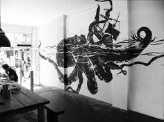 art, design, octopus, ship, wall