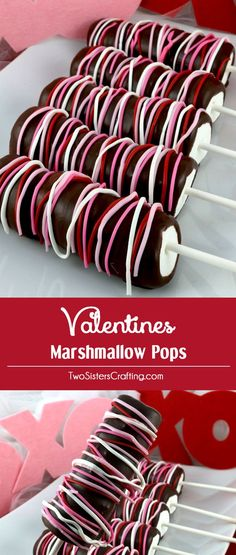 Valentines Marshmallow Pops - a colorful and delicious Valentine's Day dessert for your family. So easy to make and you won't believe how yummy these Chocolate covered Marshmallow Wands are. They would be a great Valentines Treat for your loved ones. Pin this delicious Valentine's Candy for later and follow us for more great Valentine's Day Food Ideas.