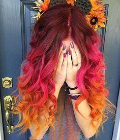 Las mejores ideas para el color del cabello que debes probar Fall Hair Colour, Fire Hair Color, Fire Ombre Hair, Autumn Hair Colors, Ombre Hair Rainbow, Rainbow Hair Colors, Hair Dye Colors, Color For Hair, Ombre Hair Colour