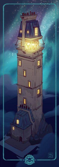 ArtStation - Aquanauta - Lighthouses, Kiel Whitaker Superflat, Lighthouse Art, Building Exterior, All Art, Concept Art, Scenery, Lighthouses, Fantasy, Architecture