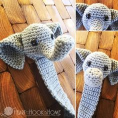 "Webster the amigurumi elephant bookmark is simply adorable. Add a bow to the top of the head to make him more ""girlie"" or simply leave him as is."