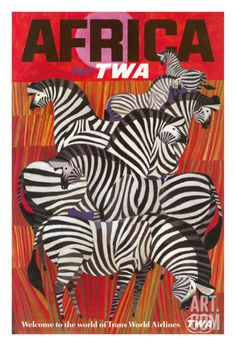 Africa - Trans World Airlines Fly TWA - Zebras Giclee Print at Art.com