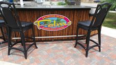 Our newly paved area allows us to put the bar and the buffet table outside the pavilion! Galveston Island, Outdoor Events, Palms, Pavilion, Bar Stools, Buffet, Parties, Table, Furniture