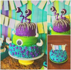 Kara's Party Ideas Monsters Inc Birthday Party Monster 1st Birthdays, Monster Inc Party, Monster Birthday Parties, 2nd Birthday Parties, Birthday Celebration, First Birthdays, Monster Inc Cakes, Monsters Inc Baby Shower, Cute Happy Birthday