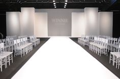 The stage is ready for the models to walk the runway and showcase Winnie Couture's beautiful bridal gowns