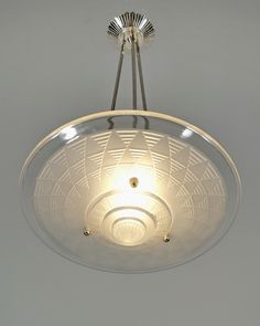 PETITOT : French 1930 pendant chandelier . A nickel on solid brass fixture hold an oversized shade in molded-pressed frosted glass. (paravas-ebay)