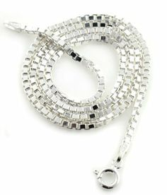 """2mm Sterling Silver 18"""" Inch Box Chain Italian Necklace Silver Insanity. $36.52. Made In Italy. Marked .925 and Italy. Spring Ring Clasp. Weighs approximately 9.5 grams. 18"""" Long and 2mm Wide"""