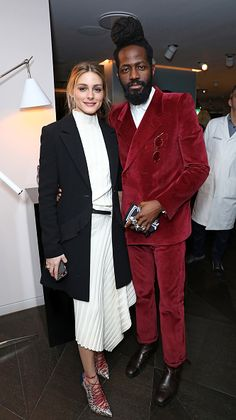 Olivia Palermo and Roy Luwolt attend the Malone Souliers London Fashion Week AW17 Presentation in London England at Hay Hill on February 19 2017 in...