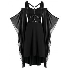 Color : Black Season : Fall,Summer Style : Fashion,Gothic Occasion : Cocktail & Party,Night Out,Prom The post Batwing Sleeve Harness Insert Lace-up High Low Dress appeared first on Power Day Sale. Vestidos High Low, Vestidos Sexy, Vestidos Vintage, Vintage Dresses, Plus Size Dresses, Sexy Dresses, Casual Dresses, Fashion Dresses, Dresses With Sleeves