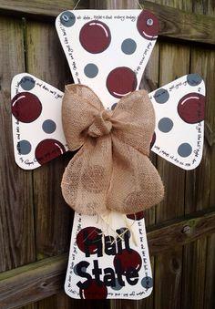 Mississippi State Wooden Cross Door Hanger by SweetSophieJacks, $35.00