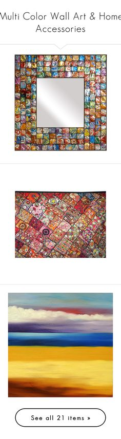 """""""Multi Color Wall Art & Home Accessories"""" by horcal ❤ liked on Polyvore featuring home, home decor, mirrors, backgrounds, furniture, props, wall art, indian tapestry wall hanging, indian wall art and india wall hanging"""