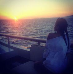 Rihanna on a boat