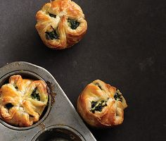 Spinach Puffs via Bon Appetit - Serve these little spinach pies with a main course as your vegetable side and dinner roll in one, or eat a couple for a vegetarian dinner—they're that good. Spinach Puffs Recipe, Puff Recipe, Recipe Key, Spinach Puff Pastry, Spinach Recipes, Tapas, Vegetarian Recipes, Cooking Recipes, Cooking Tips