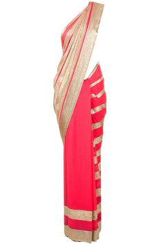 Pink striped sari with embroidered silver sequins by AMRITA THAKUR. Shop now at perniaspopupshop.com #perniaspopupshop #clothes #womensfashion #love #indian #amritathakur #happyshopping