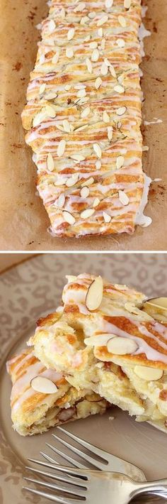 I LOVE ALMOND PASTRIES. Buttery Almond Pastry Braid: If you love almond -- almond pastries, almond croissants -- this simple recipe is perfect for you! Eat it for breakfast or dessert! Brunch Recipes, Sweet Recipes, Breakfast Recipes, Dessert Recipes, Homemade Breakfast, Breakfast Healthy, Sweet Breakfast, Simple Recipes, Breakfast Ideas