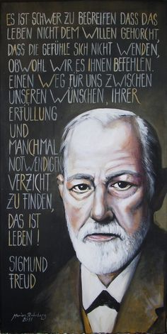 "Acrylic painting - ""Sigmund Freud"" portrait acrylic on canvas - a designer piece . Freud Psychology, Psychology Quotes, Faith Quotes, Life Quotes, Funny Quotes, Quotes Quotes, Sigmund Freud Books, Freud Quotes, Physics And Mathematics"
