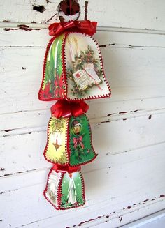 """Vintage Christmas Bells made from Vintage Christmas Cards definitely want to do this!  I got a """"box"""" made this way from the thrift store, and have wondered how to make more!!"""