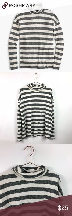 J. Crew Oversized Grey & White Striped Turtleneck Grey and white striped oversized turtleneck from J. Crew. Size medium. Good pre owned condition! No trades or try ons please. J. Crew Tops
