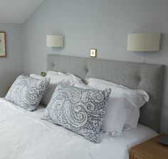 The Sanderson Upholstered Headboard In Melton Wool Flint Grey.