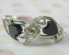 Sweetheart Ring Wire Wrapped Ring Valentine Jewelry Hematite Hearts and Sterling Silver Sweetheart Tango