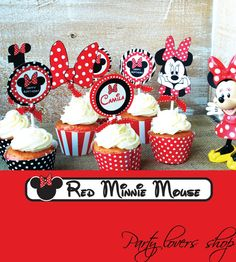 12 CUPCAKE TOPPERS red minnie mouse design from party lovers shop