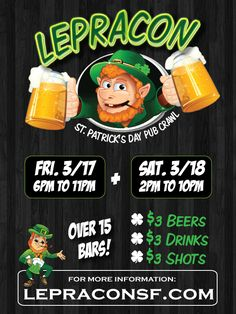 San Francisco St. Patrick's Day Pub Crawl is coming!