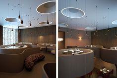 Twister, um restaurante que encanta: As  luminárias suspensas em diferentes alturas e tamanhos lembram a gotas de chuva pairando no ambiente.