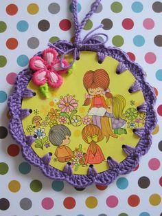 Recycled Vintage Illustration  Crochet Retro Teacher by ShoeFlower, $4.00