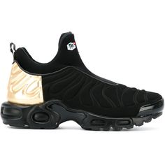Nike Air Max Plus Slip SP sneakers ($193) ❤ liked on Polyvore featuring shoes, sneakers, black, nike sneakers, black trainers, nike trainers, slip on trainers and pull on sneakers
