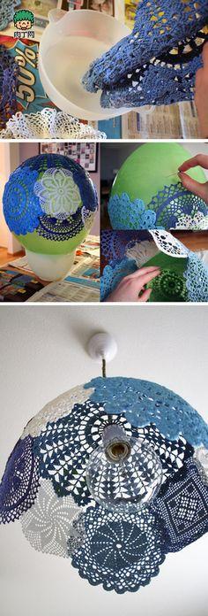 时尚简约蕾丝灯罩的DIY方法-创意生活,手工制作╭★肉丁网