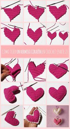 crochet heart amigurumi free pattern step by step pictures Crochet Flower Tutorial, Crochet Instructions, Crochet Flower Patterns, Hand Embroidery Patterns, Crochet Motif, Crochet Designs, Crochet Flowers, Crochet Lace, Crochet Stitches