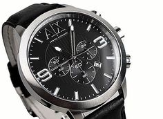 NWT Armani Exchange Mens Watch 48mm Chrono Silver Black Leather Band AX1359   160 fadc2dd1b4