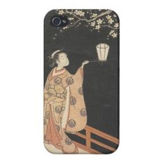 Young Woman Admiring Plum Blossoms at Night art iPhone 4/4S Cover #young #woman #japanese #lady #plum #blossom #vintage #oriental #gifts #accessories #harunobu #suzuki
