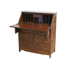 Vintage Chinese Desk Hand Carved Drop Down Front by Nachokitty