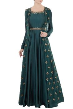 Buy Teal blue silk embroidered anarkali with lycra pants & net jacket by Daddy's Princess at Aza Fashions - Source by kaythouet - Designer Party Wear Dresses, Kurti Designs Party Wear, Lehenga Designs, Indian Designer Outfits, Indian Outfits, Long Anarkali Gown, Long Gown Dress, The Dress, Anarkali Suits