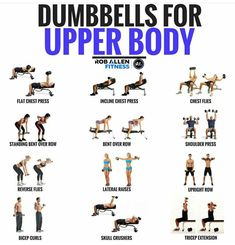 Here is a collection of upper body exercises where you need only dumbbells (and Workout Body Workout At Home, At Home Workouts, Lifting Workouts, Gym Workouts For Women, Super Set Workouts, Body Pump Workout, Upper Body Hiit Workouts, Weight Training Workouts, Muscle Building Workouts