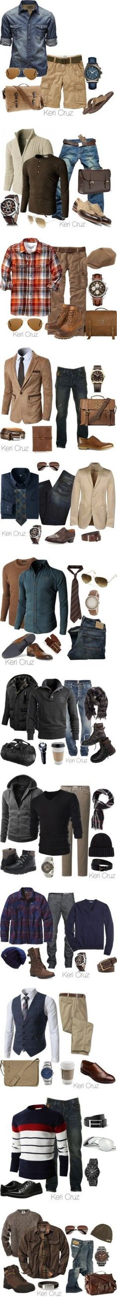 Men's Fashion Sets by Keri Cruz by keri-cruz on Polyvore featuring Old Navy, Jack & Jones, Salvatore Ferragamo, Ray-Ban, J.Crew, Kenneth Cole Reaction, Doublju, Cerruti 1881, Mulberry and 73