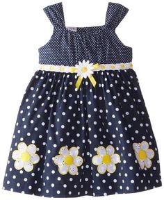 Daisy Impressão Vestido de Verão Blueberi Boulevard Little Girls ', Marinha, 6X