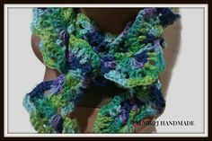 Decorative Scarf , Crochet Scarf , Wedge Scarf , Fashion Scarf , Women Scarf , Long Scarf  / Water Colors / Great  For The Cold Weather