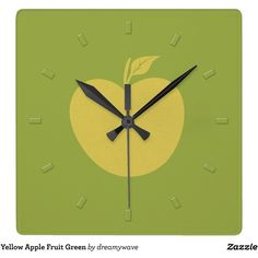 Yellow Apple Fruit Green Square Wall Clock featuring polyvore, home, home decor, clocks, green home decor, green clock, yellow home accessories, personalized wall clock and square wall clock