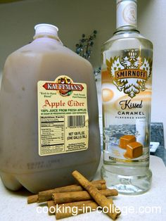 4 parts apple cider, 1 part caramel vodka, 1 tablespooncinnamon, 1/4 cup brown sugar.  Mix all of the ingredients above in a large pot. Heat over medium-low heat, stirring occasionally until liquid just begins to steam (don't over heat or else thealcoholwill burn off). While cider is warming up, take your mugs or glasses and rim them with brown sugar.